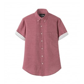 MEN BURGUNDY CONTRAST SHIRT