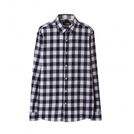 MEN NAVY SLIM FIT CHECK SHIRT