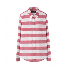 WOMEN RED SOFT-WASH STRIPE SHIRT
