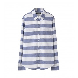 WOMEN GREY SOFT-WASH STRIPE SHIRT