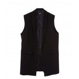 WOMEN BLACK POCKET VEST