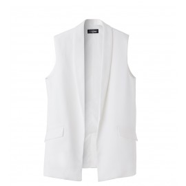 WOMEN WHITE POCKET VEST
