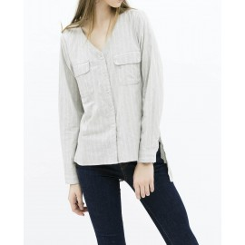 V-NECK BLOUSE (GREY)