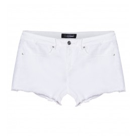 WOMEN WHITE SLIM-FIT TWILL SHORTS
