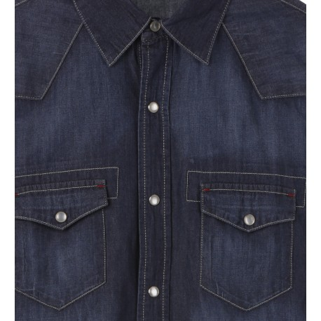 MEN DARK DENIM SHIRT WITH TWO POCKETS
