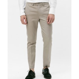 SLIM-FIT SUIT TROUSERS (BEIGE)