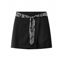 SKORTS WITH TIE (BLACK)