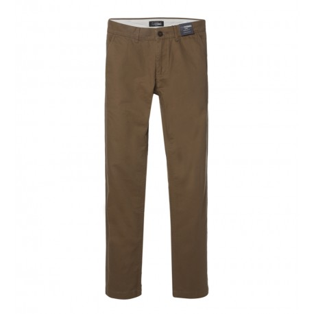 MEN DARK BROWN REGULAR FIT CHINOS