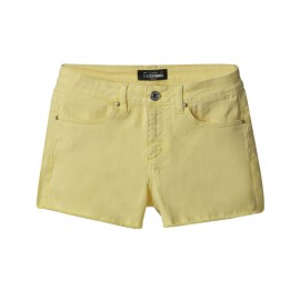 WOMEN YELLOW SLIM-FIT TWILL SHORTS