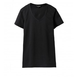 WOMEN BLACK V-NECK T-SHIRT